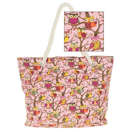 Owl Tote Bag in Pink